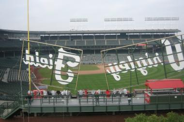 The view of the field from a Sheffield rooftop with a mock-up erected by the Cubs on Wednesday, Oct. 30.