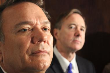 Cubic Vice President Richard Wunderle and CTA President Forrest Claypool face questions on the Ventra system Tuesday.
