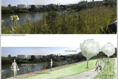 Rendering of proposed green space plans along an undeveloped prairie space at Western Avenue and the Chicago River. A community meeting was held Tuesday to gauge resident interest in several green initiatives in the Little Village neighborhood.