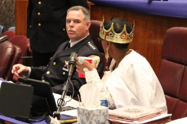 Police Supt. Garry McCarthy talks with Ald. Carrie Austin, in a queen's costume, during Thursday's Halloween budget hearings.