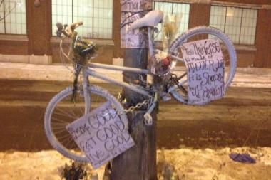 Friends and relatives set up a memorial at the spot where Hector Avalos, 28, was killed riding his bike Friday night.