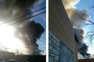 Firefighters responded to a three-alarm fire in a single-story Belmont Cragin warehouse Friday morning.