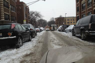 A street in Hyde Park Thursday shows the effects of the recent snowy weather.