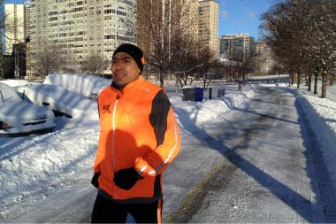Ricardo Martinez was one of the few brave souls to run on the Chicago lakefront path Monday.