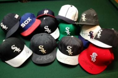 Some of the 91 game-used White Sox hats owned by Joe and Gail Bosch.