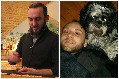 Left: Wicker Park bartender Fabio Brienza at work at Bar Bar Black Sheep and Roger Harris, at home with his dog Gypsy.