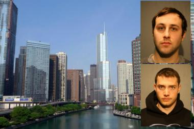 Carl Koenemann (bottom) and Benjamin Nitch (top), both 25, — are accused opening up a water valve meant for fire protection at Trump Tower. The water gushed out at 250 gallons a minute and flooded two elevator shafts, prosecutors said.