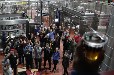 "Lagunitas Chicago celebrated its first brew with a ""first bottling party"" Friday at its new brewery in Douglas Park."