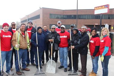 Volunteers Clean Up Around Earle STEM Elementary School