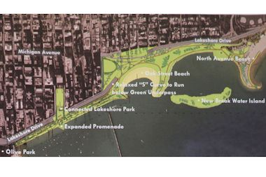 A new plan for the lakeshore in Streeterville was presented to community members Monday.