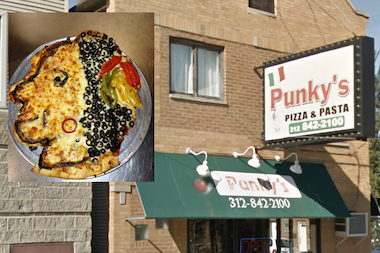 The Blackhawks logo-shaped pizza at Punky's Pizza & Pasta, 2600 S. Wallace St., in Bridgeport.