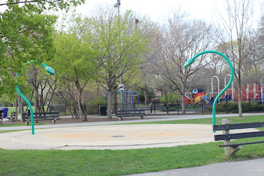 The snake-shaped water play area will be removed to make way for an addition to Wildwood Elementary School.