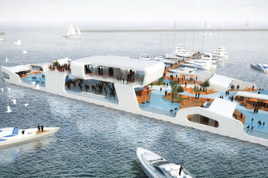 An artist's rendering of Beau D'Arcy's proposed Breakwater Chicago entertainment barge.