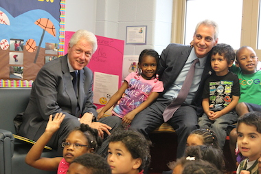 President Bill Clinton Visits Daycare For Low-Income Parents