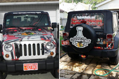 The Hawk Mobile, a 2008 Jeep Wrangler owned by Pilsen native Steve Bross. The Hawk Mobile is part of several parades each year.