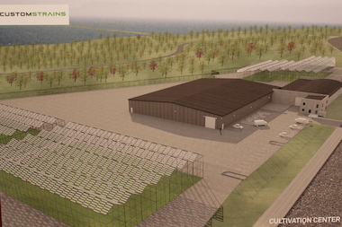 A rendering of the proposed medical-marijuana cultivation center in Hegewisch