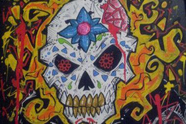 An ornate skull illustrated by Bridgeport comics artist Leo Perez.