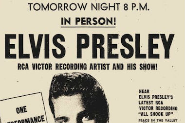 A concert poster promoting Elvis Presley's 1957 performance at the International Amphitheatre.