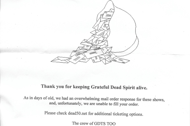 Grateful Dead Mail Order Rejection Letters Hitting
