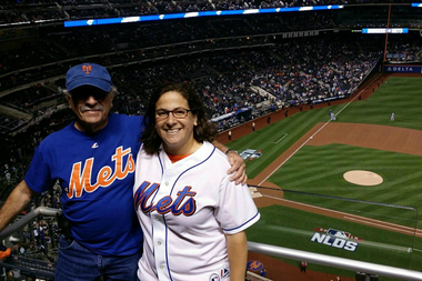 (from l.) Julie Bronder and her dad, Ira Rubinstein, at Citi Field last week at NLDS Game 3 vs. the Los Angeles Dodgers.
