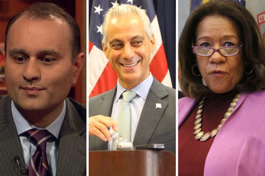 Mayor Rahm Emanuel (center) has refused to take responsibility for hiring two crooks — former comptroller and convicted felon Amer Ahmad and former Chicago Public Schools CEO Barbara Byrd Bennett, who recently pleaded guilty to setting up a kickback scheme.