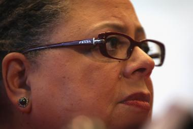 Karen Lewis, president of the Chicago Teachers Union. The union filed two discrimination lawsuits against CPS on behalf of African-American teachers.