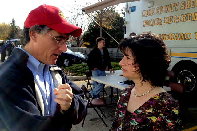 <p>Cook County Sheriff Tom Dart and Ald. Debra Silverstein talk in the parking lot of a Target store during a similar sting operation at the end of October.</p>