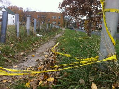 Police tape near the site in the 8000 block of South Halsted Street, where Kenton Morgan was gunned down Oct. 24. Bobby Wilson, 16, was arrested and charged Dec. 4 in connection with Morgan's death.