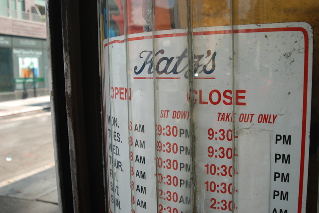 <p>The sign out front Katz&#39;s Deli, a famous Lower East Side kosher delicatessen.</p>