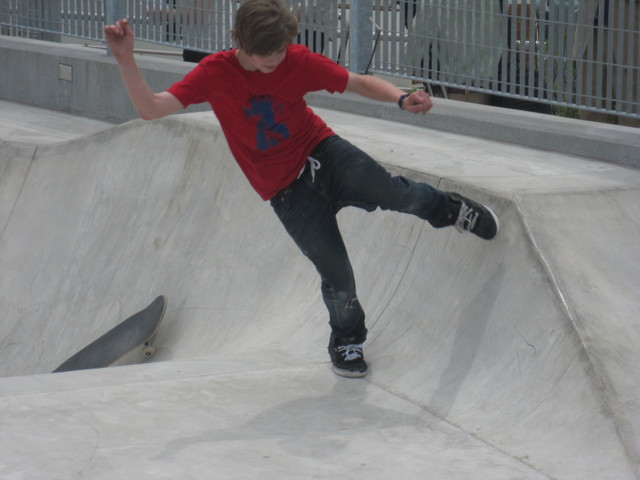 <p>Skaters played on the ramps at the new park at Pier 62.</p>