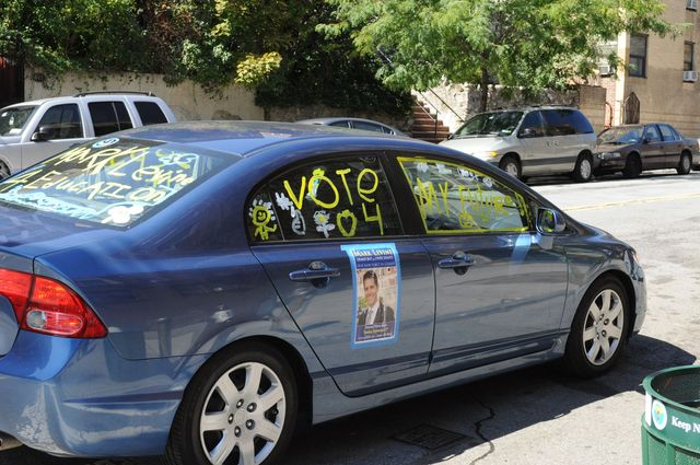<p>A hand-decorated car for Mark Levine&#39;s campaign.</p>
