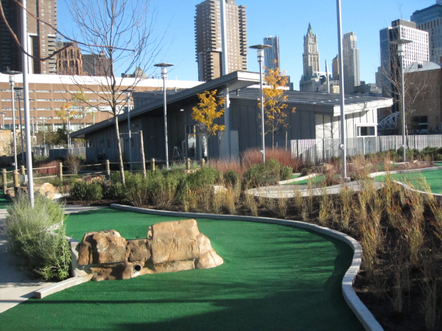 <p>The landscaped 18-hole miniature golf course on Pier 25.</p>