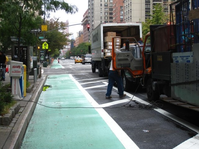 <p>Some business owners along Columbus Avenue have said the new bike lanes make it difficult for trucks to make deliveries. The DOT is trying to solve that problem by creating new loading zones.&nbsp;</p>