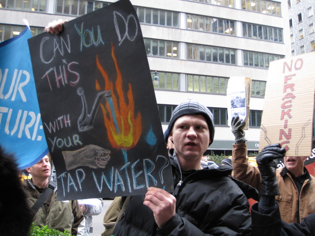 Environmental activists gathered outside the governor's Manhattan offices on Monday to speak out against hydrofracking.