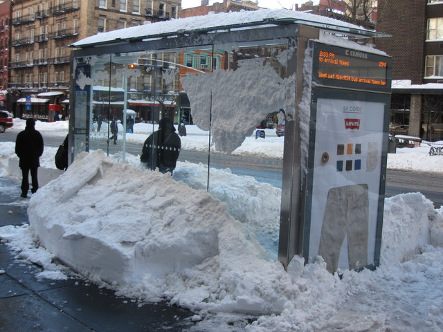 <p>A bus shelter on East 34th Street had no arrivals scheduled, but passengers were still hoping for a ride.</p>