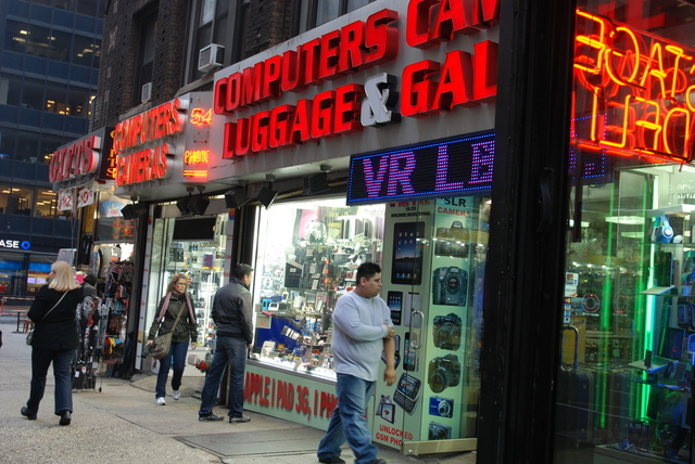 <p>Electronics stores are ubiquitous throughout the Times Square area.</p>