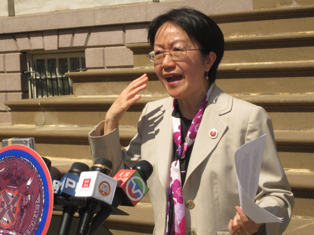 <p>Councilwoman Margaret Chin announced her counterfeit handbag legislation in front of City Hall in April 2011.</p>