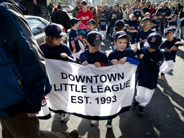 <p>The Downtown Little League marched through lower Manhattan.</p>