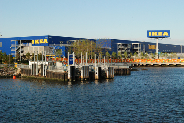 Ikea's store is on the waterfront in front of an old shipyard.