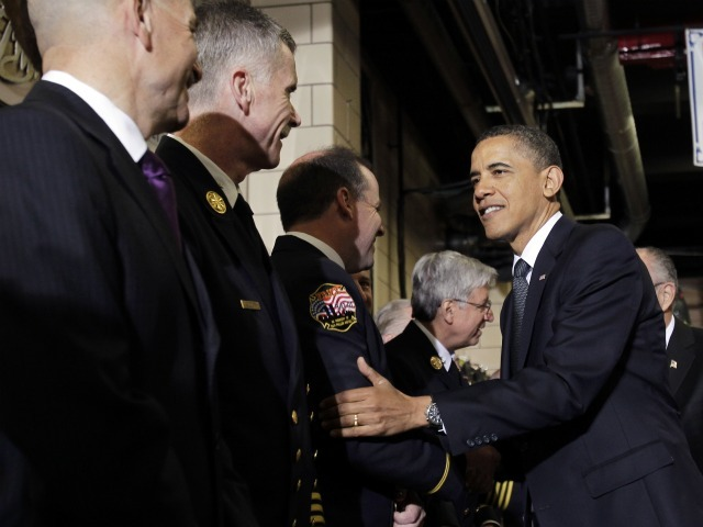 President Barack Obama visits members of the New York City Fire Department at the Engine 54 fire house on May 5, 2011 in New York City.