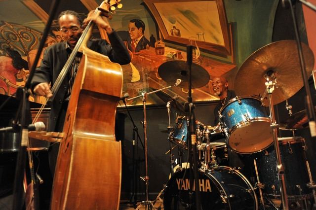 <p>T.S. Monk on the drums and Ron Carter on the bass, kicked off the Harlem Jazz Shrines Festival at Minton&#39;s Playhouse.</p>