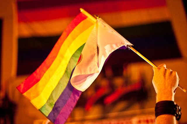 A rainbow flag waves outside the historic Stonewall Inn after the gay marriage bill passed.