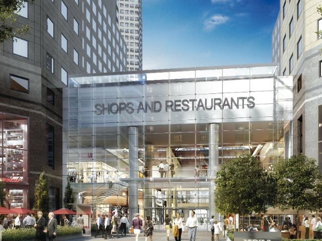 A rendering of a new Vesey Street entrance with outdoor dining at the World Financial Center.