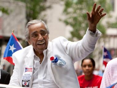 Congressman Charlie Rangel was on hand for the parade.