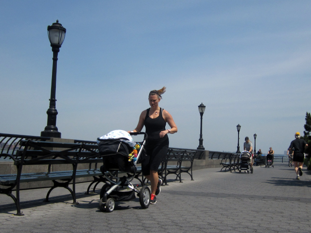 Young families are drawn to lower Manhattan's waterfront.