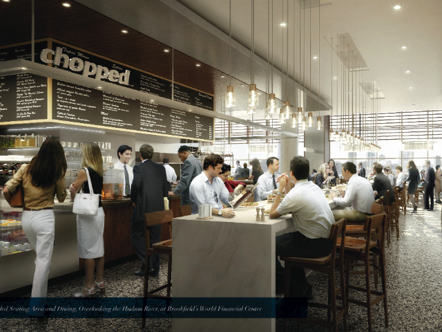 Rendering of a new World Financial Center dining area overlooking the Hudson River.