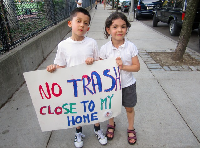 <p>Ethan Braunstein, 7, and his sister Samantha, 5, attended a June rally against the East 91st Street waste transfer station.</p>