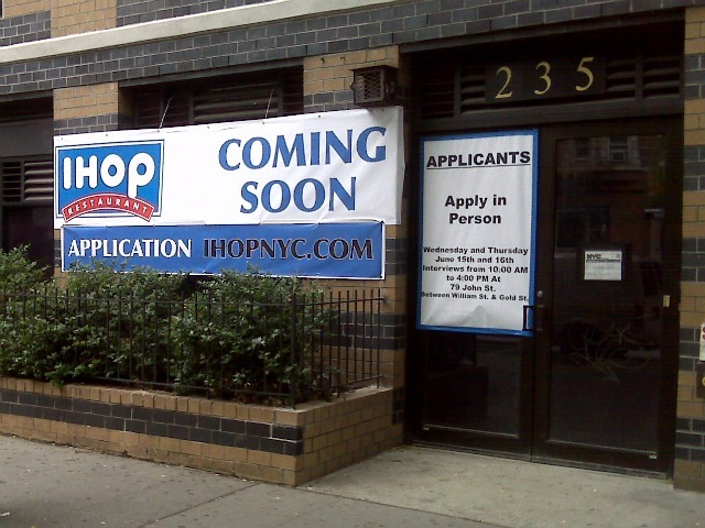 A sign went up last month announcing the arrival of a new IHOP on East 14th Street between Second and Third avenues.