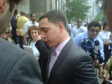 Franklin Mata, 29, stands outside Manhattan Supreme Court after a jury voted to acquit him of rape charge on May 26, 2011.