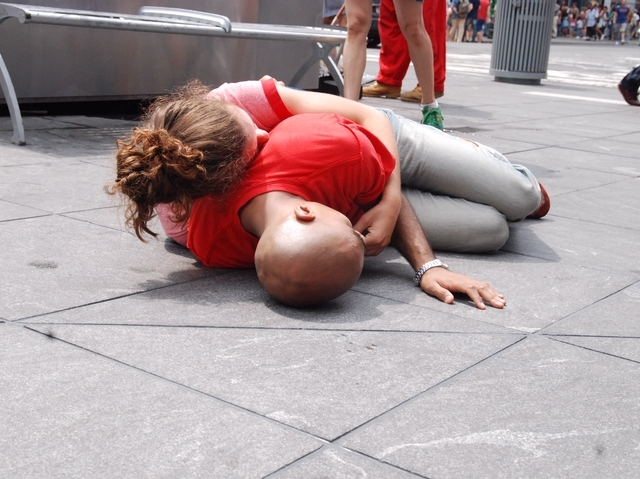 The work, titled The Partner Project/Scene in Public, is choreographed to showcase intimate interactions between couples, from quiet moments of soft embrace to fear, anger and frustration.